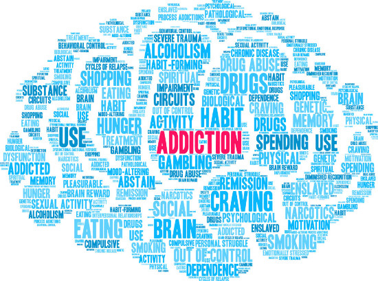 different words listing the traits of addiction, written in blue, forming the shape of a brain with addiction written in pink in the middle