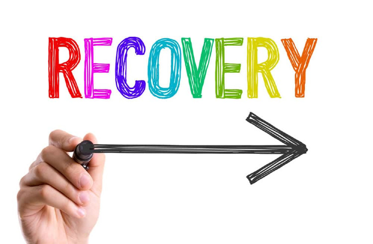 The word Recovery written in different colours, a hand drawing an arrow in black below, with the arrow pointing to the right.